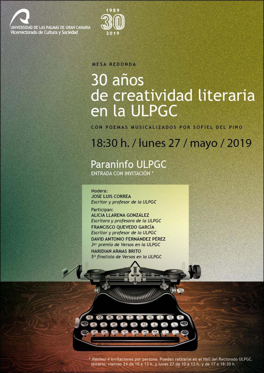 '30 años de creatividad literaria en la ULPGC', en el Paraninfo universitario