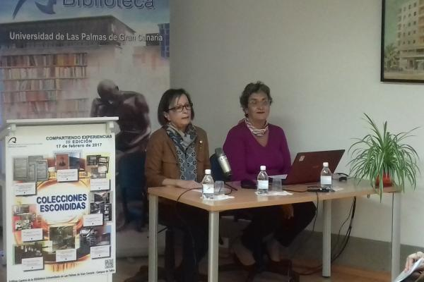 La Vicerrectora de Comunicación (i) y la Directora de la Biblioteca Universitaria, durante la inauguración del encuentro
