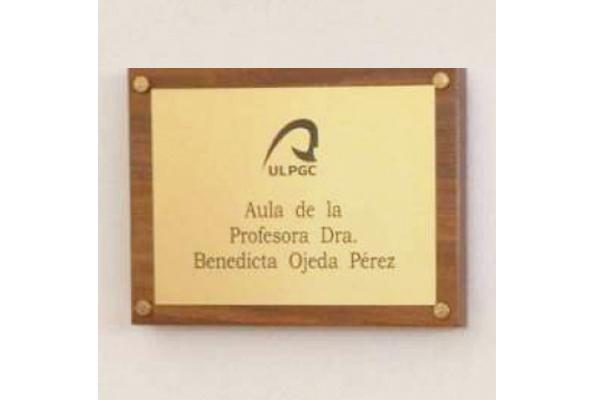 Detalle de la placa del Aula de la Profesora Dra. Benedicta Ojeda, en la Facultad de Ciencias de la Salud