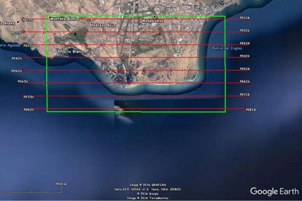 Ruta prevista del avión con los sensores hiperespectrales en Maspalomas