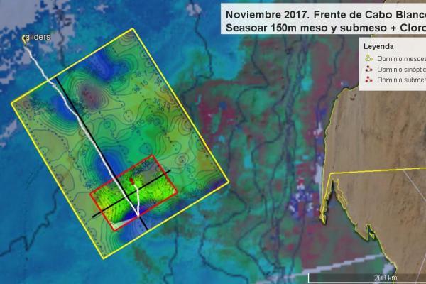 Zonas de muestreo durante la campaña FLUXES 2. La línea blanca indica el recorrido de los Gliders.