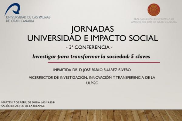 Cartel de la charla del Vicerrector José Pablo Suárez en las Jornadas 'Universidad e Impacto Social'