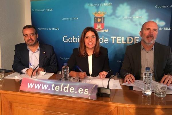 De izda. a dcha.: El Rector Robaina, la Alcaldesa Carmen Rosa Hernández y el Director-Gerente de la FPCT ULPGC