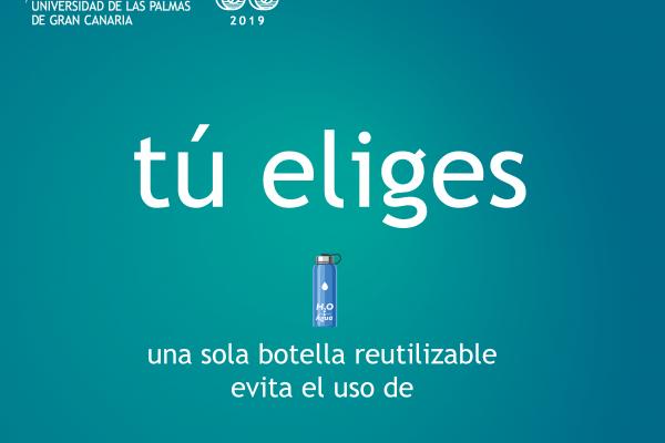 Detalle del cartel de la campaña de concienciación para la eliminación de  los envases de un solo uso